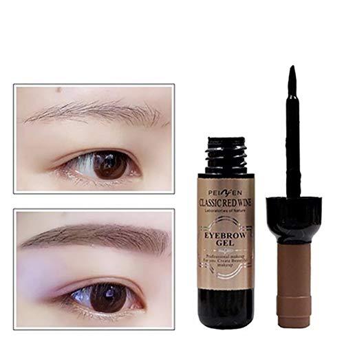 Xiton 1 STÜCK Tattoo Augenbrauen Gel Peel Off Weinflaschenform NatüRliche Augenbrauencreme Langlebiges Augenbrauen-Gel Wasserdichte NatüRliche Augenbrauenfarbe (Dunkelbraun)