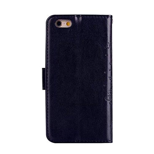 Custodia iPhone 7 2 in 1 Flip Magnetica contanti e slot per schede Custodia in pelle Protettiva Cover-porpora black