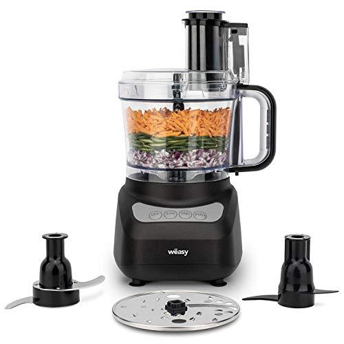 Wëasy Robot de cuisine Multifonction 1,8L Compact CK490, Robot Culinaire Professionnel, Puissant, Fonctions préprogrammées: hâcher/émincer/broyer/pétrir/mélanger, 1 disque + 2 lames inox
