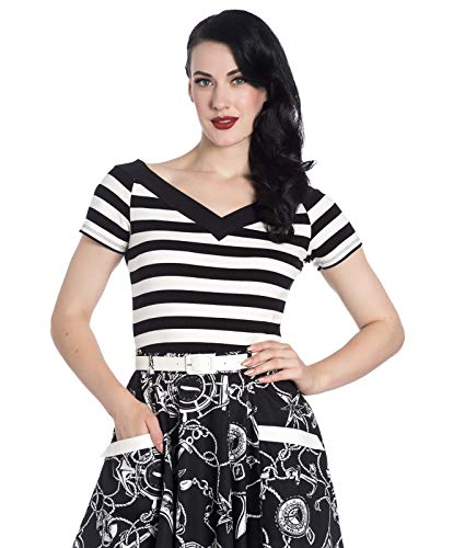 Hell bunny top da donna caitlin (bianco/nero) - medium