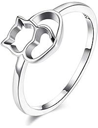 HSINCERELY Anillo para Mujer diseño de Gato, Ideal, San Valentín, cumpleaños, ...
