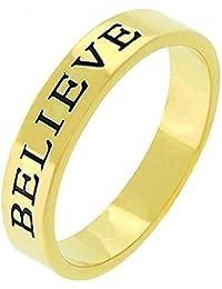Spiritueller Ring 'BELIEVE' (Glaube), 14 Karat Gold Vermeil