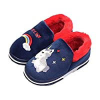 Coralup Kids Cotton Indoor Slippers Unicorn House Shoes Anti-Slip Winter Comfort Warm Soft UK 8 Kids-UK 2