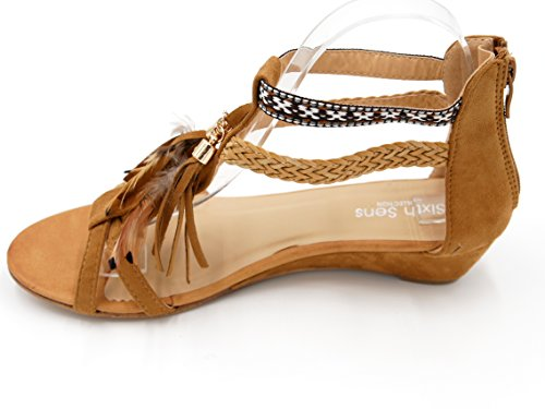Ethno Boho Style Keilabsatz Sandalette Feder Fransen Quaste Holzperlen Damen Schuhe Festival (8458) Camel