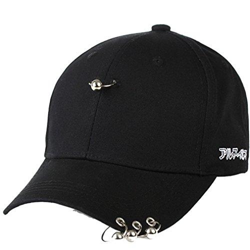 Belsen Damen Stift Ring Reifen Vintage Baseball Cap Trucker Hat (Silver Ball) Hip Hop Trucker Hats