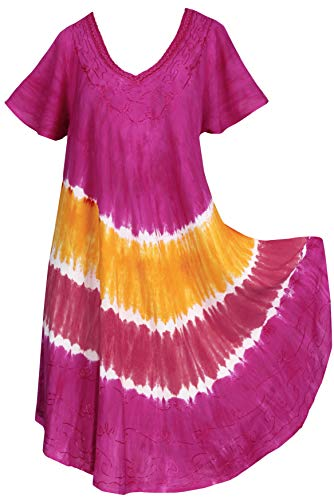 LA LEELA Kurze Strandkleid hawaiische tie dye gestickten Blumen Urlaub Frauen Casual Mini Rosa_Y487 DE Größe: 42 (L) - 50 (3XL) -