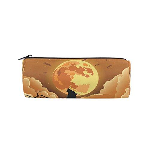 Ahomy Federmäppchen, Halloween, Wolf, Mond, Stifttasche, Studenten, Schreibwaren, Aufbewahrungstasche, Make-up-Tasche für Frauen (Mädchen Wolf Halloween-make-up)