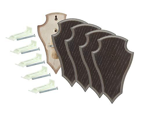EUROHUNT Rehbock Gehörnbrettchen spitz Dunkelbraun mit Gehörnklammern 5 Sets aus Brettchen und Klammer 19x12 cm oder 22x13 cm rissfreie Eiche (19x12cm)