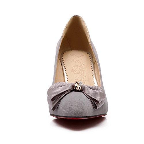 BalaMasa, Pull-On, motivo: gattino, a punta con tacco basso, in gomma, colore metallo, fiocco e scarpa Gray