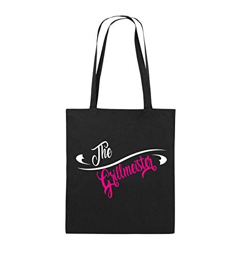 Comedy Bags - The Grillmeister - Jutebeutel - lange Henkel - 38x42cm - Farbe: Schwarz / Weiss-Neongrün Schwarz / Weiss-Pink