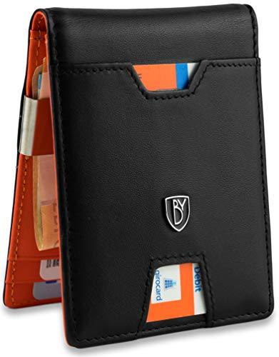 iSlim - Nappa Leder Geldbeutel mit Geldklammer und Münzfach, 9 Kartenfach Premium Geldbörse RFID NFC - Schutz Slim - Wallet Echtleder Geschenk |Schwarz Orange