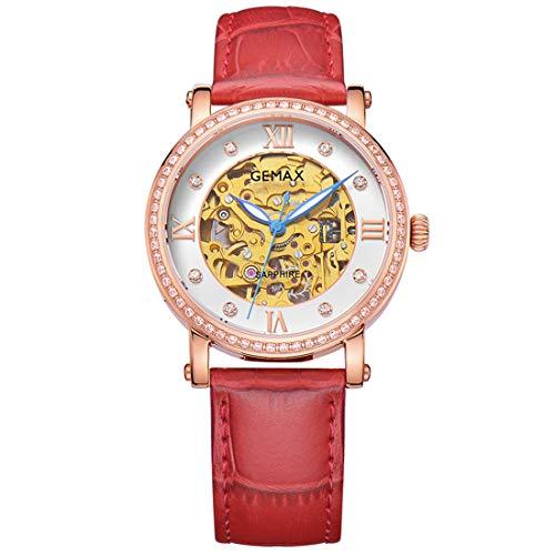 Frauen Rose Gold Automatische Mechanische Uhren Damen Luxury Dress Wrist Watch (Rose Gold),Red - Watch Gold Red