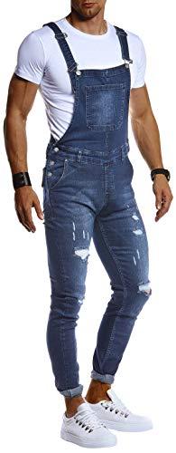 Leif Nelson Herren Jeans Latzhose Stretch Hose Slim Fit Basic Lange Jeanshose für Männer Denim Overall Jungen weiße Freizeithose Jumpsuit Chino Cargohose LN9450 Blau W34L32