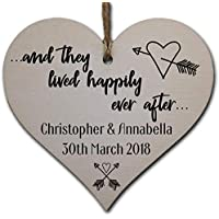 Personalised Handmade Wooden Hanging Heart Plaque Gift to Congratulate the Newlyweds Personalised Wedding Keepsake