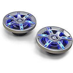 Auna CS-LED5 - Paire Enceintes Auto - Hauts-Parleurs de Voiture pour Tuning de Toute sorte, coaxiaux 3 Voies (13cm 5 Pouces, 91 décibels, câbles Inclus, 2x300W Max.) Eclairage Bleu LED
