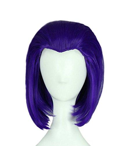 Comic Raven Perücke Kurz Gerade Blaue Haare Cosplay Zubehörteil für Damen Halloween Kleidung Merchandise