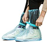 Desi Rang Blue and Light Red PVC Plastic Shoes Cover - Large