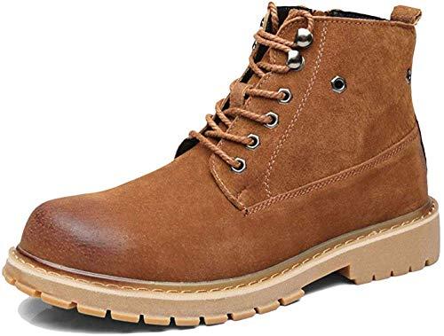 YFDXQY Militärstiefel, Martin Stiefel Classic Winter Herbst und Schuhe Oxford Retro Round Hilfe Kopf Stiefel Lamper Lederstiefel Erwachsene Stiefel Hohe Leder,Brown-41(UK7.5) -