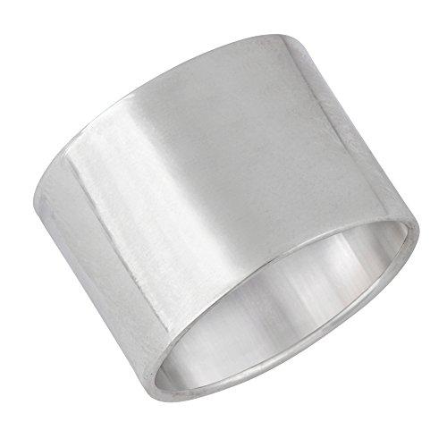 Silverly Frauen Männer .925 Sterling Silber Polierte Plain Einfach Glatte Dick Large Band Ring - Band-ringe Silber Breites