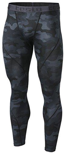 TSLA Herren-Kompressionshose mit Baselayer-Leggings für Cool Dry Sports Tights Leggings, Athletic(mup19) - Camo Schwarz, Large -