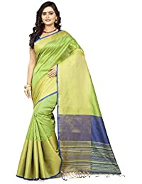 Fabattic Women's Tussar Silk Lemon Green Saree With Blouse Piece (Anantha-A)