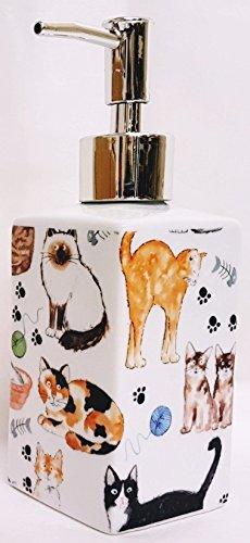 Katzen Seifenspender Porzellan Keramik Pumpe Liquid Collage Katzen Seifenspender Hand verziert in Großbritannien. Keramik Seifen-pumpe