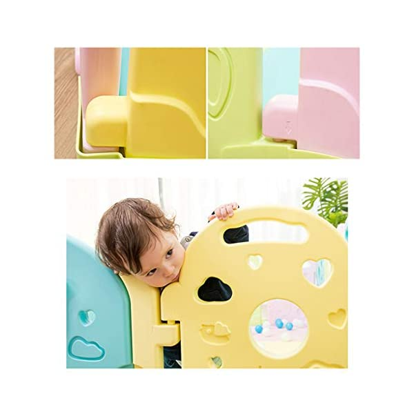 Baby Playpen - Children'S Safety Toys Crawling Mat - Activity Center - Environmental Hdpe - Suitable For 0-6 Children-11 Activity Panel - Rugged - Waterproof  ♥ You can use and combine all the fences to create entertainment for your child anywhere in the home. ♥ It can be changed into different shapes. You can change the frame according to your baby's preferences and bring a different feeling every day. ♥ Can be used as a fence or protective barrier, flexible mounting options, very simple assembly and unlimited scalability. 4