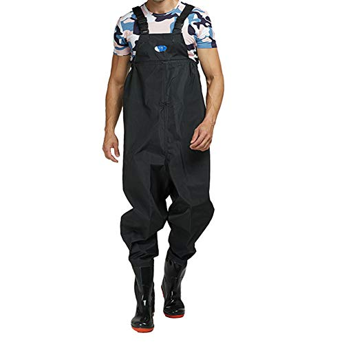 Xiaoyezi Angeln Wathosen für Männer mit Stiefeln, 3-Ply Nylon/PVC Wasserdicht Leichte atmungsaktive Jagd Fliegenfischen Wathosen für Frauen,Schwarz,40
