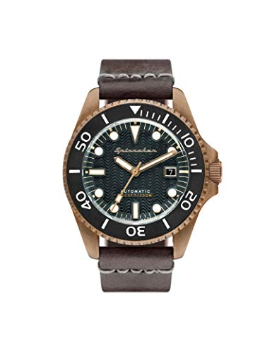 SPINNAKER Men's Tesei 42mm Brown Leather Band Metal Case Automatic Green...
