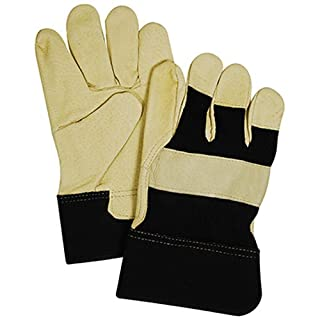 KINCO INTERNATIONAL TB524ETM Supple Grain Pigskin Leather Palm & Thumb Glove, Medium, Black & Tan, Wing Thumb, 2-1/2