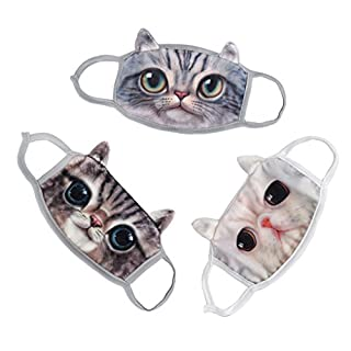 3Pcs Cute Cat Gauze Mask Winter Warm Activated Carbon Mask Anti Dust Face Mouth Gauze Mask Cover Anti-Fog Earloop Mouth Mask Face Masks Respirator Mask Breathable Cotton Reusbale Mask for Men Women