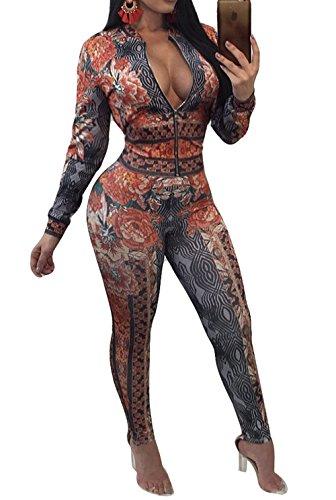 Voghtic Damen Langarm Blumendruck Top und lange Hosen Overalls 2 Stück Outfit Set