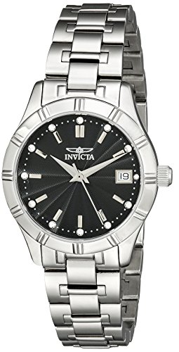 Invicta Women's 32mm Steel Bracelet & Case Anti Reflective Sapphire Swiss Quartz Black Dial Watch 18125