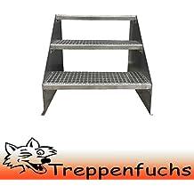 Stabile Industrietreppe f/ür den Au/ßenbereich 3 Stufen Standtreppe Stahltreppe freistehend Breite 140cm H/öhe 63cm Verzinkt// Robuste Au/ßentreppe