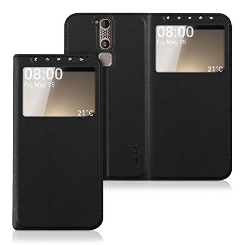 kwmobile Flip Case Hülle für ZTE Axon Mini mit Sichtfenster - Aufklappbare Kunstleder Schutzhülle im Flip Cover Style in Schwarz
