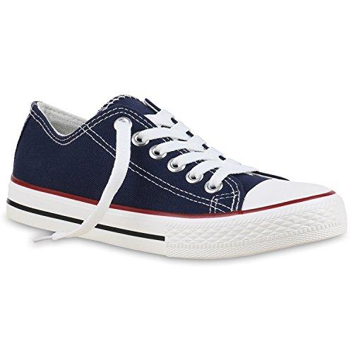 Stiefelparadies Damen Basic Sneaker Sportschuhe Schnürer Low Top Schuhe Canvas Stoff Turnschuhe Sportliche 131151 Dunkelblau Total 37 Flandell Canvas Low Top Sneaker