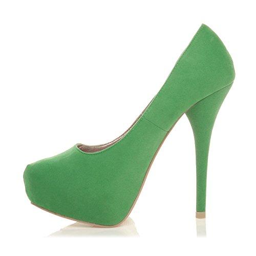 Suede Ajvani tacco col Verde donna Scarpe Green 0YYr6