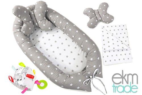 4in1 Set 85x50 cm Babynestchen Kokon Babynest Baby Decke Kopfkissen Entdeckerwürfel ekmTRADE (0104)