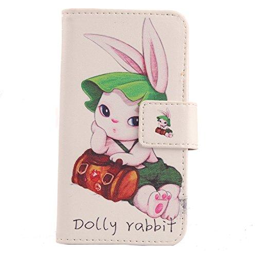 Lankashi PU Flip Leder Tasche Hülle Case Cover Schutz Handy Etui Skin Für Doogee Voyager2 Dg310 Dolly Rabbit Design