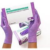 Nitrilhandschuhe 100 Stück Box (M, Lila) Einweghandschuhe, Einmalhandschuhe, Untersuchungshandschuhe, Nitril Handschuhe violett, puderfrei, ohne Latex, unsteril, latexfrei, disposible gloves, purple, X Medium
