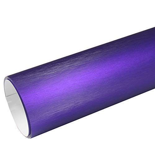 Rapid Teck® AutoFolie Serie z560 Chrom 3D Brushed Purple 1m x 1,52m Alu gebürstet selbstklebende Premium Car Wrapping Folie mit Luftkanal