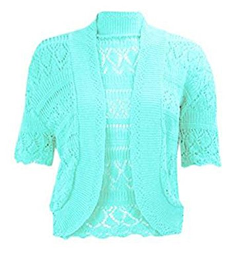 Womens Crochet Knitted Bolero Shrug Top Ladies Short Sleeve Cardigan Crop Top Test