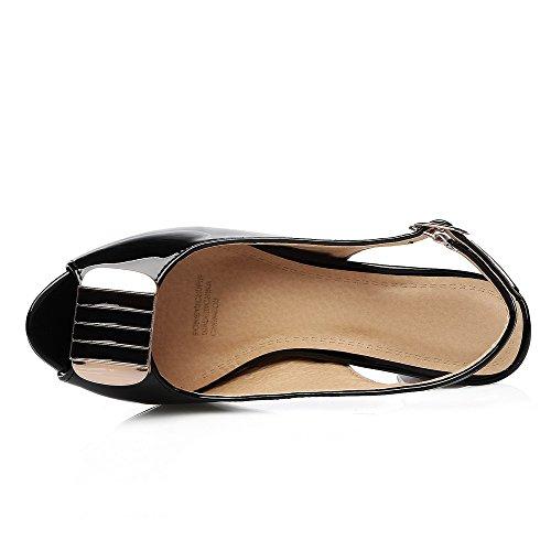 VogueZone009 Donna Luccichio Puro Fibbia Sbirciare Tacco Medio Sandali Nero