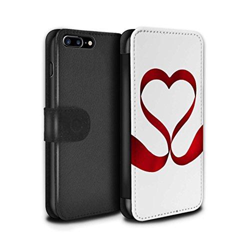 Stuff4 Coque/Etui/Housse Cuir PU Case/Cover pour Apple iPhone 7 Plus / Aimer Ruban Design / Coeur Valentine Collection Aimer Ruban