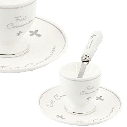 Ensemble coquetier, assiette et cuillère « First Communion » - En porcelaine de Chine fine, blanche et argentée