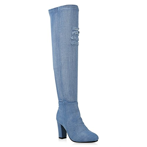 02dbadd48c36c8 Stiefelparadies Damen Stiefel Overknees Overknee Langschaftstiefel Denim  Fransen Schuhe 146420 Blau Avelar 38 Flandell