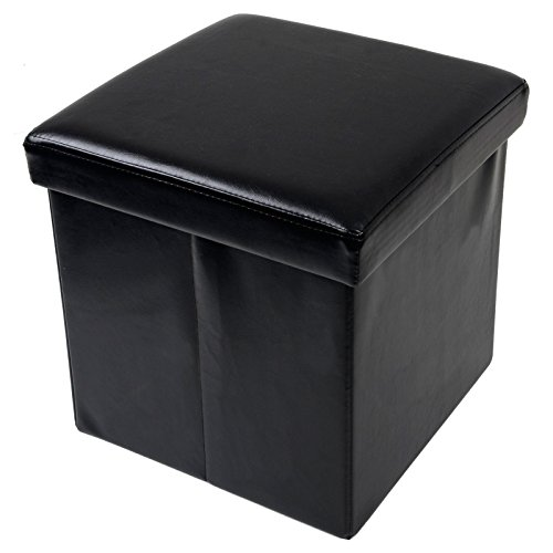 folding-storage-stool-with-lid-black-faux-leather-38cm-cube-pouffe-seat-ottoman-by-xss