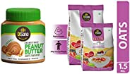 DiSano All Natural Peanut Butter, Creamy, 30% Protein, Unsweetened, Gluten Free, 1 Kg & Oats with High in