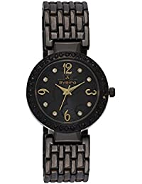 Aveiro Black Plated Stainless Steel Black Dial Women Watch With Gold Index