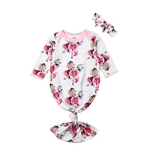Neugeborenes Baby Kleider Schlafsack Stirnband Set Floral Knotted Infant Swaddle Wrap Decke Nachtwäsche Baumwolle Schlafsack Hut Outfits 0-6 Monate (0-3 M, Rosa 3)